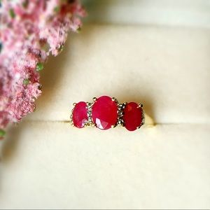 10K Gold Real Ruby And Diamond Ring